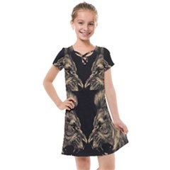 Animals Angry Male Lions Conflict Kids  Cross Web Dress