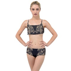 Animals Angry Male Lions Conflict Layered Top Bikini Set