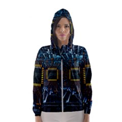 Electronics Machine Technology Circuit Electronic Computer Technics Detail Psychedelic Abstract Patt Hooded Windbreaker (women)