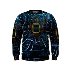 Electronics Machine Technology Circuit Electronic Computer Technics Detail Psychedelic Abstract Patt Kids  Sweatshirt