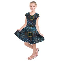 Electronics Machine Technology Circuit Electronic Computer Technics Detail Psychedelic Abstract Patt Kids  Short Sleeve Dress by Bejoart