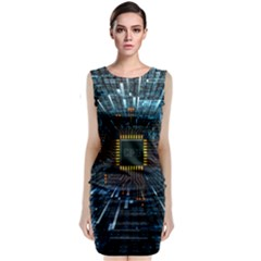 Electronics Machine Technology Circuit Electronic Computer Technics Detail Psychedelic Abstract Patt Sleeveless Velvet Midi Dress