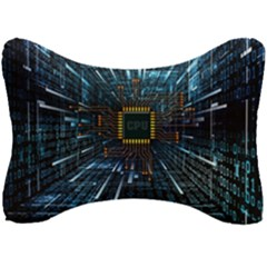 Electronics Machine Technology Circuit Electronic Computer Technics Detail Psychedelic Abstract Patt Seat Head Rest Cushion by Bejoart