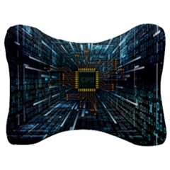 Electronics Machine Technology Circuit Electronic Computer Technics Detail Psychedelic Abstract Patt Velour Seat Head Rest Cushion by Bejoart