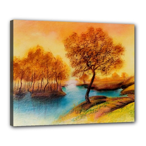 Drawing Landscape River Trees Peace Autumn Canvas 20  X 16  (stretched) by Bejoart