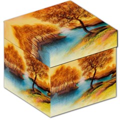 Drawing Landscape River Trees Peace Autumn Storage Stool 12   by Bejoart