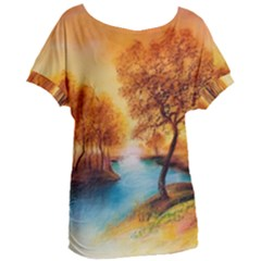 Drawing Landscape River Trees Peace Autumn Women s Oversized Tee
