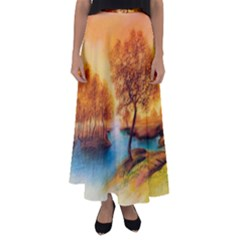 Drawing Landscape River Trees Peace Autumn Flared Maxi Skirt