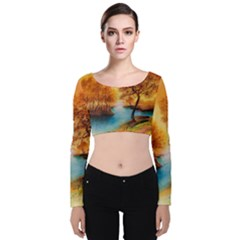 Drawing Landscape River Trees Peace Autumn Velvet Long Sleeve Crop Top