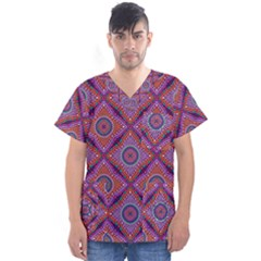 Ethnic Floral Seamless Pattern Men s V Neck Scrub Top
