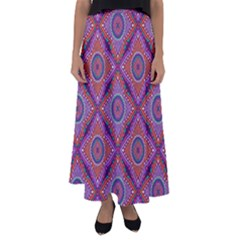 Ethnic Floral Seamless Pattern Flared Maxi Skirt