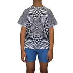 Abstract Animated Ornament Background Kids  Short Sleeve Swimwear