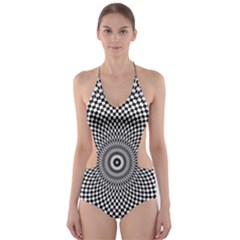 Abstract Animated Ornament Background Cut Out One Piece Swimsuit