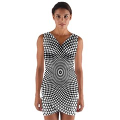 Abstract Animated Ornament Background Wrap Front Bodycon Dress