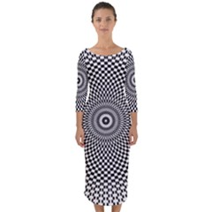 Abstract Animated Ornament Background Quarter Sleeve Midi Bodycon Dress
