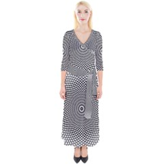 Abstract Animated Ornament Background Quarter Sleeve Wrap Maxi Dress
