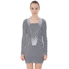 Abstract Animated Ornament Background V Neck Bodycon Long Sleeve Dress