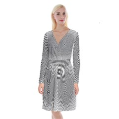 Abstract Animated Ornament Background Long Sleeve Velvet Front Wrap Dress