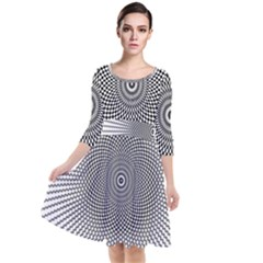 Abstract Animated Ornament Background Quarter Sleeve Waist Band Dress