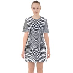 Abstract Animated Ornament Background Sixties Short Sleeve Mini Dress