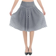 Abstract Animated Ornament Background Flared Midi Skirt