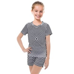 Abstract Animated Ornament Background Kids  Mesh Tee And Shorts Set
