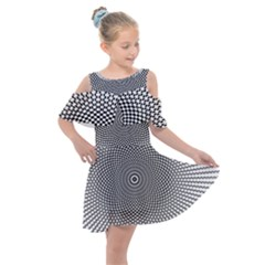 Abstract Animated Ornament Background Kids  Shoulder Cutout Chiffon Dress