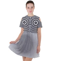 Abstract Animated Ornament Background Short Sleeve Shoulder Cut Out Dress