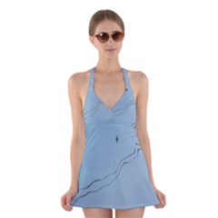 Airplane Airplanes Blue Sky Halter Dress Swimsuit  by Mariart