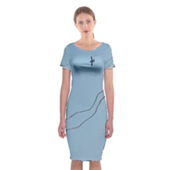 Airplane Airplanes Blue Sky Classic Short Sleeve Midi Dress