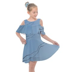 Airplane Airplanes Blue Sky Kids  Shoulder Cutout Chiffon Dress