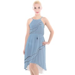 Airplane Airplanes Blue Sky High Low Halter Chiffon Dress  by Mariart