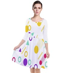 Colorful Geometric Graphic Quarter Sleeve Waist Band Dress
