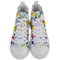Colorful Geometric Graphic Women s Mid Top Canvas Sneakers