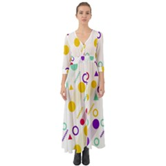 Colorful Geometric Graphic Button Up Boho Maxi Dress by Jojostore