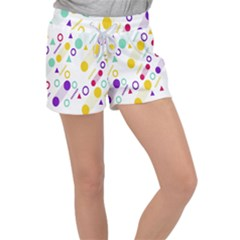 Colorful Geometric Graphic Women s Velour Lounge Shorts