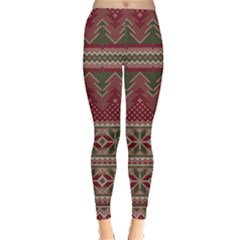 Maroon Fun Classic Ugly Christmas Pajmas Leggings  by PattyVilleDesigns