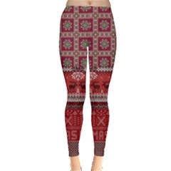 Dark Red Vintage Xmas Aztec Pajamas Leggings