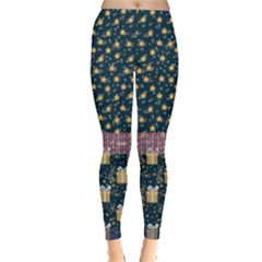 Navy Christmas Box Stars Leggings  by PattyVilleDesigns