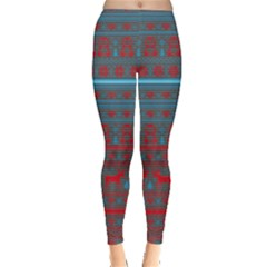 Colorful Christmas Classic Print Leggings  by PattyVilleDesigns