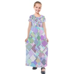 Colorful Background Multicolored Kids  Short Sleeve Maxi Dress