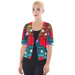 Art Rectangles Abstract Modern Art Cropped Button Cardigan