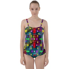 Art Rectangles Abstract Modern Art Twist Front Tankini Set