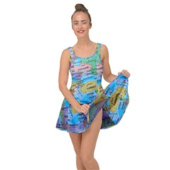 Globe World Map Maps Europe Inside Out Casual Dress
