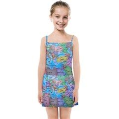 Globe World Map Maps Europe Kids Summer Sun Dress