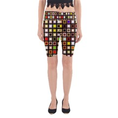 Squares Colorful Texture Modern Art Yoga Cropped Leggings