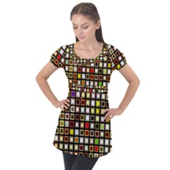 Squares Colorful Texture Modern Art Puff Sleeve Tunic Top