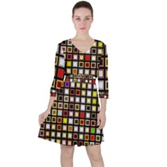 Squares Colorful Texture Modern Art Ruffle Dress by Bejoart