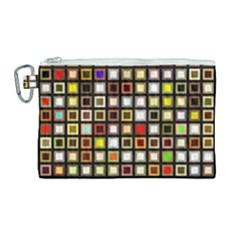 Squares Colorful Texture Modern Art Canvas Cosmetic Bag (large) by Bejoart