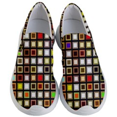 Squares Colorful Texture Modern Art Women s Lightweight Slip Ons by Bejoart